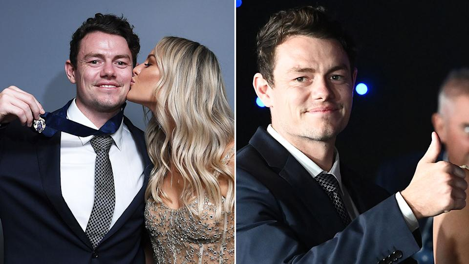 Pictured here, Lachie Neale gives a thumbs up and gets a kiss from his wife after winning the 2020 Brownlow Medal.
