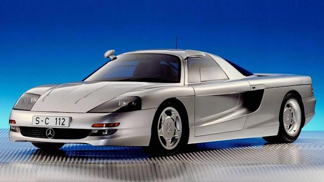 The mid-engined V12 supercar with gullwing doors took the shape of a road-going Group C machine with active aerodynamics.
