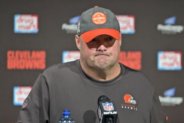 FILE - In this Oct. 13, 2019, file photo, Cleveland Browns head coach Freddie Kitchens answers questions after an NFL football game against the Seattle Seahawks, in Cleveland. Kitchens sold cars in Alabama before he got into coaching. So at least hes got a fallback plan. The Browns first-year coach, whose selection was met with some skepticism because of his lack of experience, could be down to his final games if Cleveland doesnt turn around a season that has derailed after beginning with sky-high optimism.(AP Photo/David Richard, File)