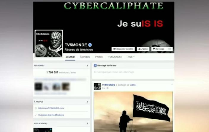 An image grab of a TV5Monde Facebook account after it was hacked by individuals claiming to belong to the Islamic State group (AFP Photo/-)