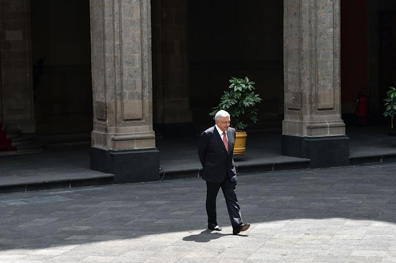 Mexico's President Andres Manuel Lopez Obrador walks before the arrival of his Colombian counterpart Ivan Duque, at the National Palace in Mexico City on March 10, 2020. (Photo by RODRIGO ARANGUA / AFP) (Photo by RODRIGO ARANGUA/AFP via Getty Images)
