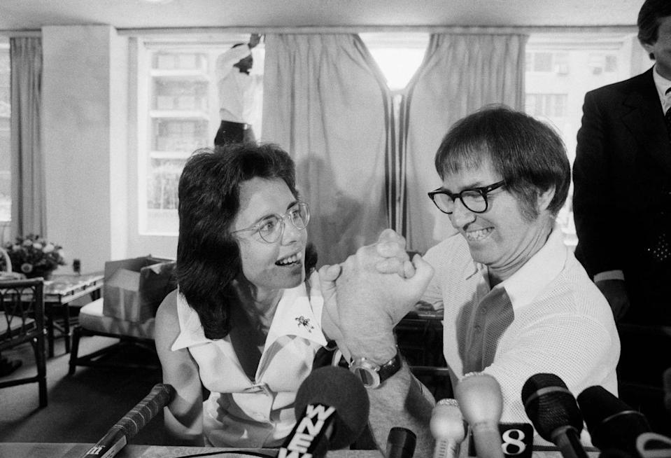 """<p>To cap off the summer of '73, Billie Jean King defeated Bobby Riggs in a """"Battle of the Sexes,"""" following his public notion of the """"inferiority"""" of women's tennis. King took home a prize of $100,000 and priceless bragging rights for her victory.</p>"""