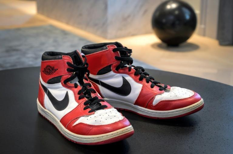 Basketball player Michael Jordan's sneakers, worn during his 1984-1985 debut season, were the star items of the sale