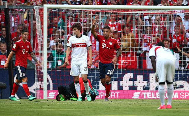 Soccer Football - Bundesliga - Bayern Munich v VfB Stuttgart - Allianz Arena, Munich, Germany - May 12, 2018 Bayern Munich's Corentin Tolisso celebrates scoring their first goal REUTERS/Michael Dalder DFL RULES TO LIMIT THE ONLINE USAGE DURING MATCH TIME TO 15 PICTURES PER GAME. IMAGE SEQUENCES TO SIMULATE VIDEO IS NOT ALLOWED AT ANY TIME. FOR FURTHER QUERIES PLEASE CONTACT DFL DIRECTLY AT + 49 69 650050