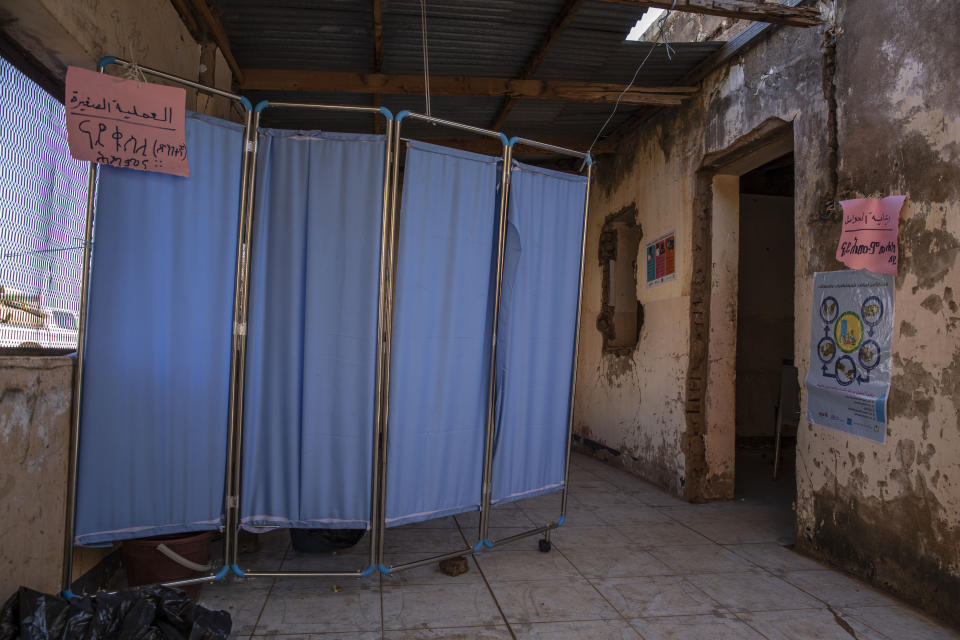 A general view of the clinic where Tigray refugees who fled the conflict in Ethiopia's Tigray region, get treated at Umm Rakouba refugee camp in Qadarif, eastern Sudan, Tuesday, Nov. 24, 2020. (AP Photo/Nariman El-Mofty)