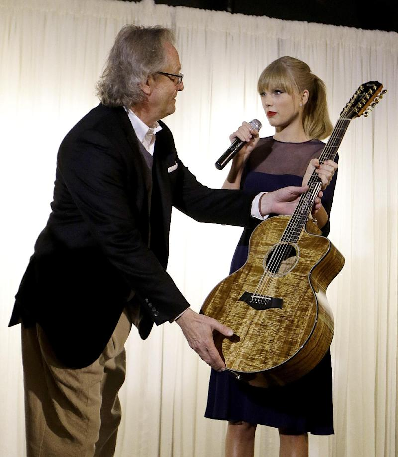 Taylor Swift presents a guitar for display to Kyle Young, director of the Country Music Hall of Fame and Museum, on Saturday, Oct. 12, 2013, in Nashville, Tenn. Swift is at the facility to open the $4 million Taylor Swift Education Center. (AP Photo/Mark Humphrey)