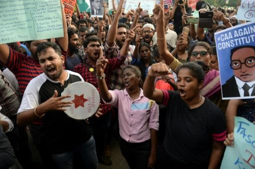 Students and demonstrators protest against India's new citizenship law in Chennai on December 19, 2019