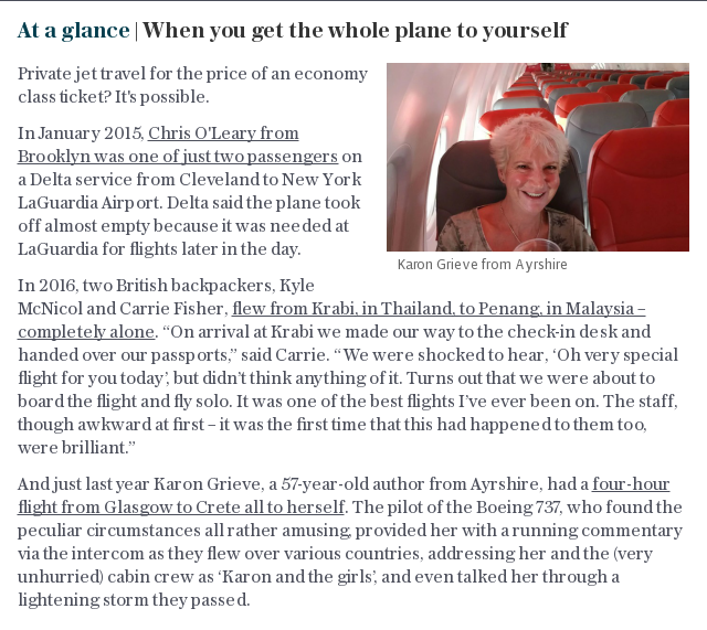 At a glance | When you get the whole plane to yourself