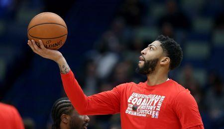 Feb 8, 2019; New Orleans, LA, USA; New Orleans Pelicans forward Anthony Davis (23) warms up before their game against the Minnesota Timberwolves at the Smoothie King Center. Chuck Cook-USA TODAY Sports