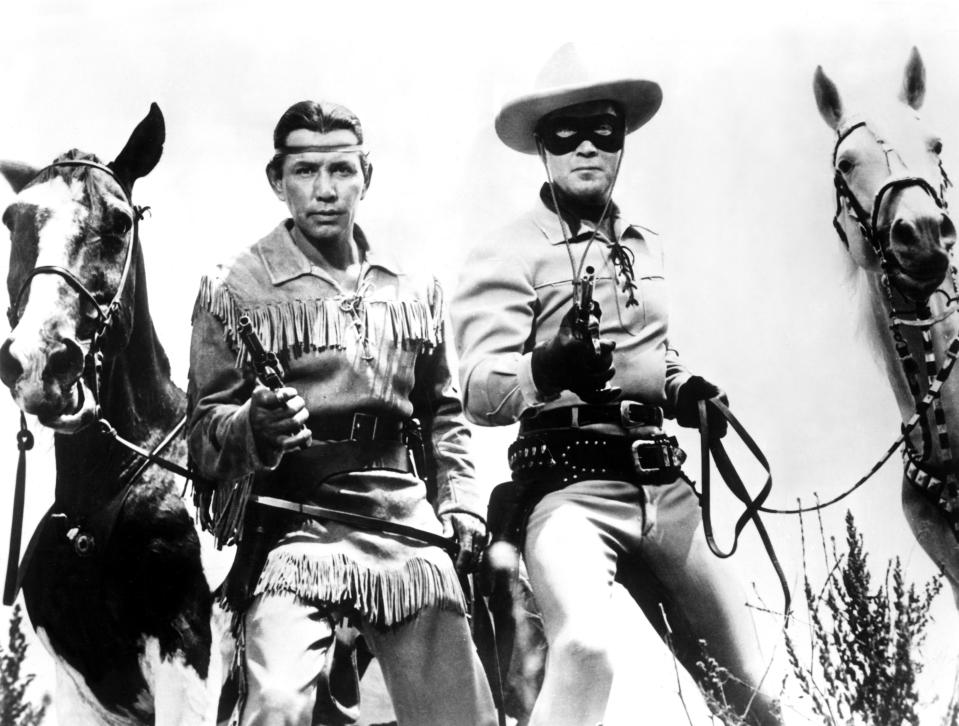 Jay Silverheels as Tonto and Clayton Moore as the Lone Ranger on the 1950s TV version of 'The Lone Ranger' (Photo: Courtesy Everett Collection)