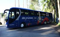 <p>The team bus parked up at the Repino hotel. </p>