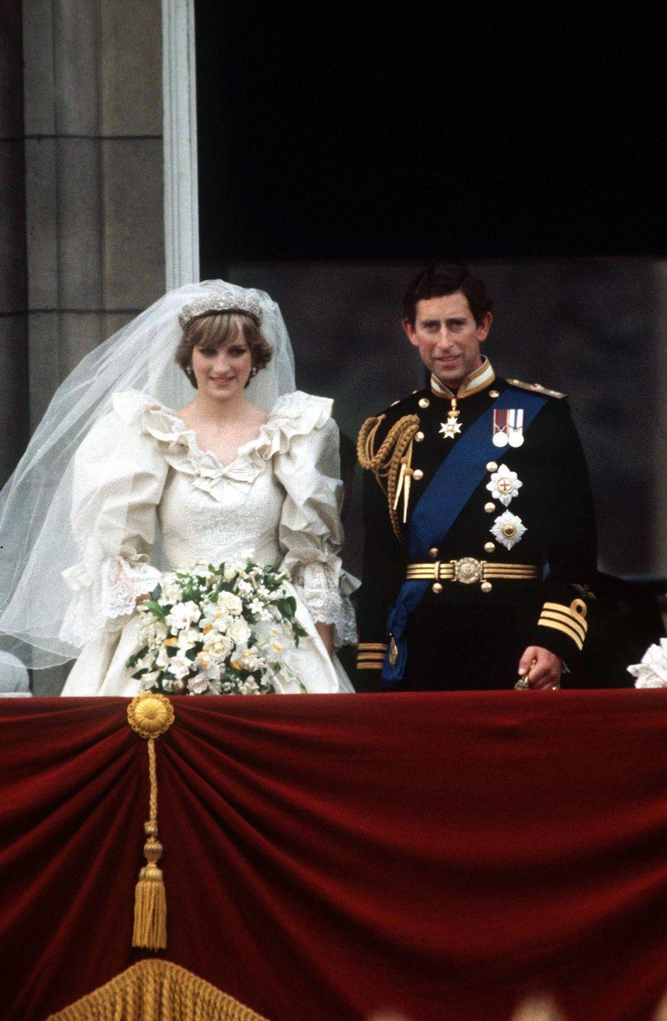 "<p>Who could forget Princess Diana's 25-foot train–the longest in royal history–made by David and Elizabeth Emanuel for Alexander McQueen? While the cost of the dress is unknown, <a href=""https://www.crfashionbook.com/celebrity/g28506147/secret-moments-princess-diana-royal-wedding/?slide=11"" rel=""nofollow noopener"" target=""_blank"" data-ylk=""slk:Prince Charles and Princess Diana's total wedding cost"" class=""link rapid-noclick-resp"">Prince Charles and Princess Diana's total wedding cost</a> was an estimated $48 million. This royal couple divorced in 1996 after 15 years of marriage. </p>"