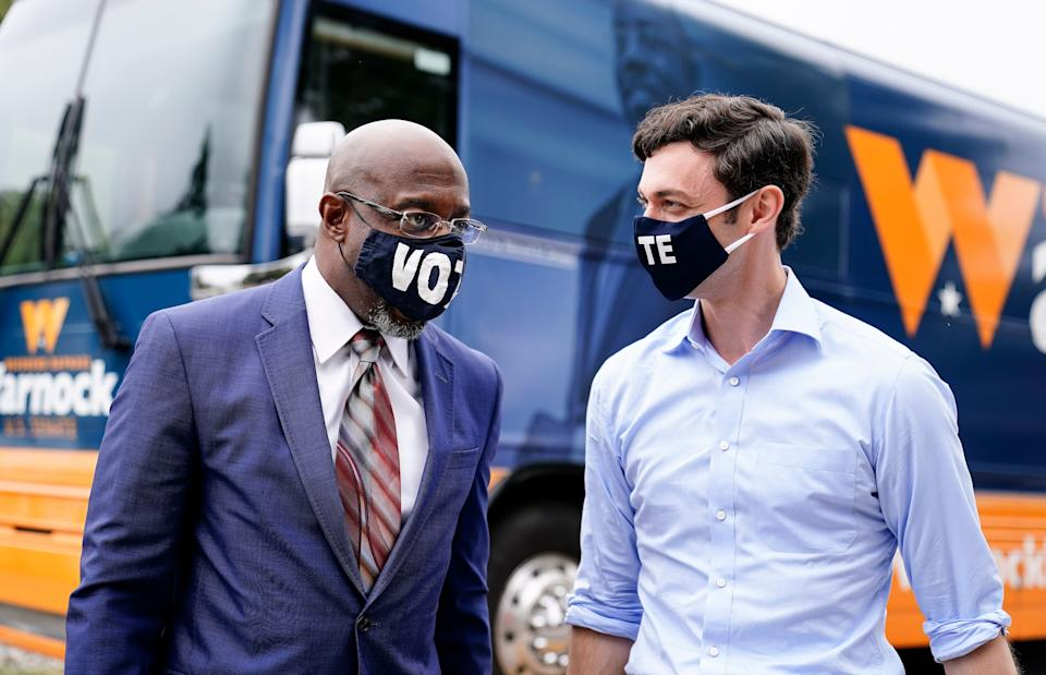 Democrats Raphael Warnock and Jon Ossoff are competing in Jan. 5 runoff elections that will determine control of the Senate. (Photo: Brynn Anderson/Associated Press)