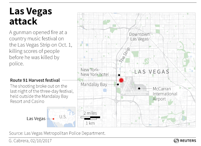 <p>A gunman opened fire at a country music festival on the Las Vegas Strip on Oct. 1, killing scores of people. (Reuters) </p>