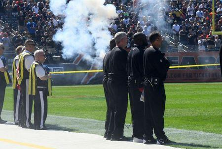 Sep 24, 2017; Chicago, IL, USA; The Pittsburgh Steelers coaching staff stands for the National Anthem before the game against the Chicago Bears at Soldier Field. Mandatory Credit: Mike DiNovo-USA TODAY Sports