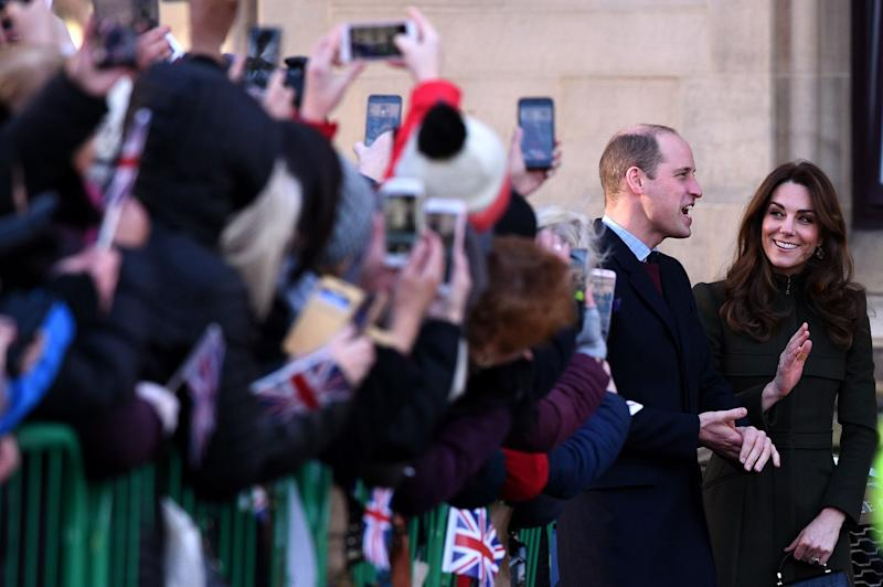 Prince William and Duchess Kate arrive for a visit to City Hall in Centenary Square, Bradford on Jan. 15, 2020.
