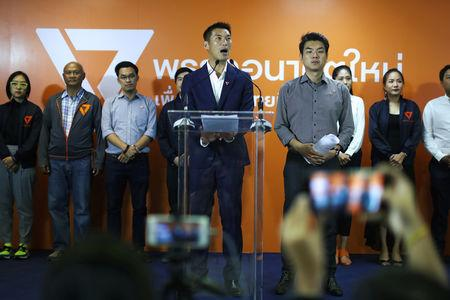 Thanathorn Juangroongruangkit, leader of the Future Forward Party, speaks during a news conference at his party headquarters in Bangkok, Thailand, March 25, 2019. REUTERS/Athit Perawongmetha