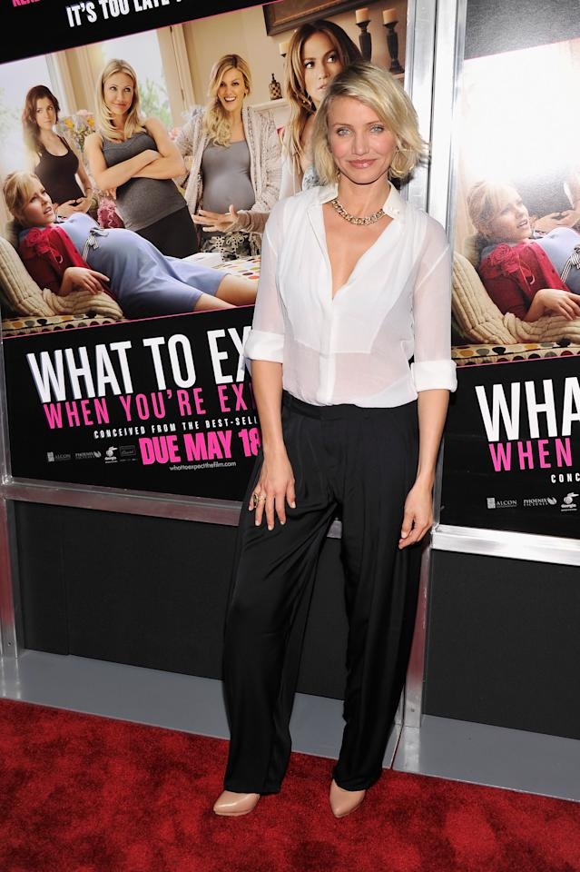 """NEW YORK, NY - MAY 08:  Actress Cameron Diaz attends the """"What To Expect When You're Expecting"""" New York Screening at AMC Lincoln Square Theater on May 8, 2012 in New York City.  (Photo by Stephen Lovekin/Getty Images)"""
