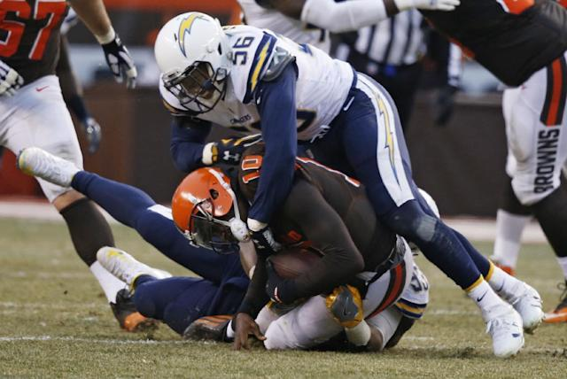 Joshua Perry (56) has retired from football at 24 years old. (AP Photo/Ron Schwane)
