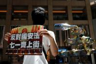 A pro-democracy protester holds a placard during a protest in Hong Kong
