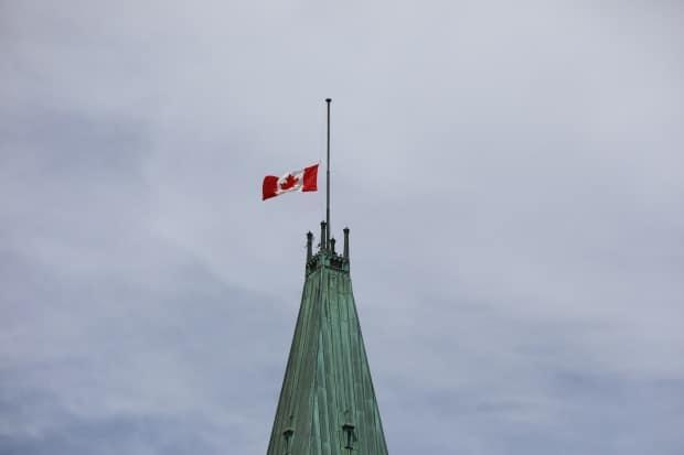 Canadian flags have been at half-mast in honour of residential school students since May 30. (Olivier Hyland/CBC News - image credit)