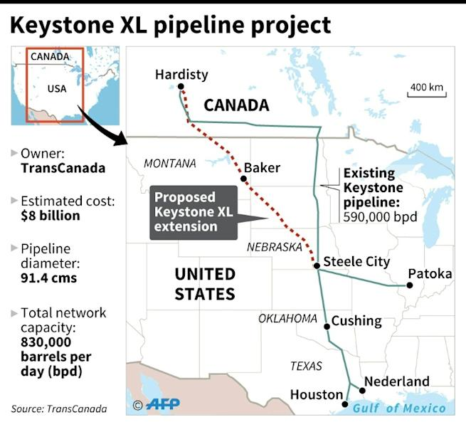 The Keystone XL pipeline would carry oil from Canadian tar sands to US refineries, but was put on hold by former president Barack Obama over environmental concerns