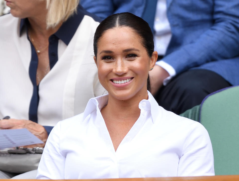 LONDON, ENGLAND - JULY 13: Meghan, Duchess of Sussex attends the Women's Singles Final of the Wimbledon Tennis Championships at All England Lawn Tennis and Croquet Club on July 13, 2019 in London, England. (Photo by Karwai Tang/Getty Images)