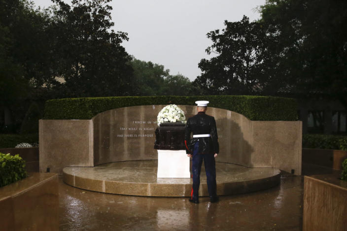 <p>A Marine stands in the rain in front of the casket bearing former first lady Nancy Reagan at the Ronald Reagan Presidential Library in Simi Valley, Calif., on March 11, 2016. <i>(Photo: Jae C. Hong/AP)</i></p>