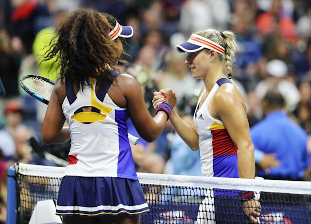 <p>Naomi Osaka of Japan celebrates defeating Angelique Kerber of Germany in their first round Women's Singles match on Day Two of the 2017 US Open at the USTA Billie Jean King National Tennis Center on August 29, 2017 in the Flushing neighborhood of the Queens borough of New York City. (Photo by Elsa/Getty Images) </p>