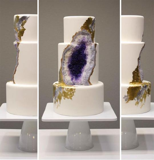 "<p>Geode-related crafts are trending right now, but this one (sorry) takes the cake. Here to undermine all vainglorious attempts at DIY geode supremacy is <a href=""http://www.intricateicings.com/#!Amethyst-Geode-Wedding-cake/cyrp/56a2bc490cf2009838b8080e"">Rachael Teufel</a>, with her brilliant, three-tiered, positively prehistoric wedding cake marvel. In the three days since she posted pictures of her cake on <a href=""https://www.facebook.com/intricateicingscakedesign/"">Facebook</a>, Teufel has gained 25,000 followers and received 8,000 comments. <i>(Photo: Rachael Teufel via <a href=""http://www.boredpanda.com/amethyst-wedding-cake-geode-intricate-icings-rachel/"">Bored Panda</a>)</i></p>"