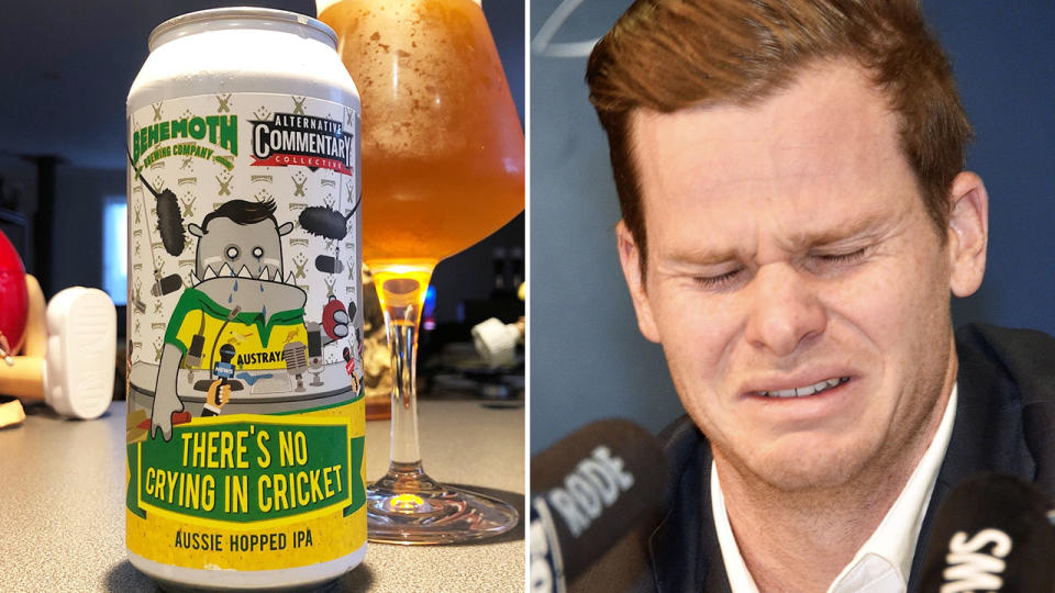 Steve Smith, pictured here in tears over Australia's ball-tampering scandal.