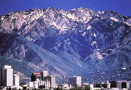 The Wasatch Range looms over Salt Lake City, Utah.