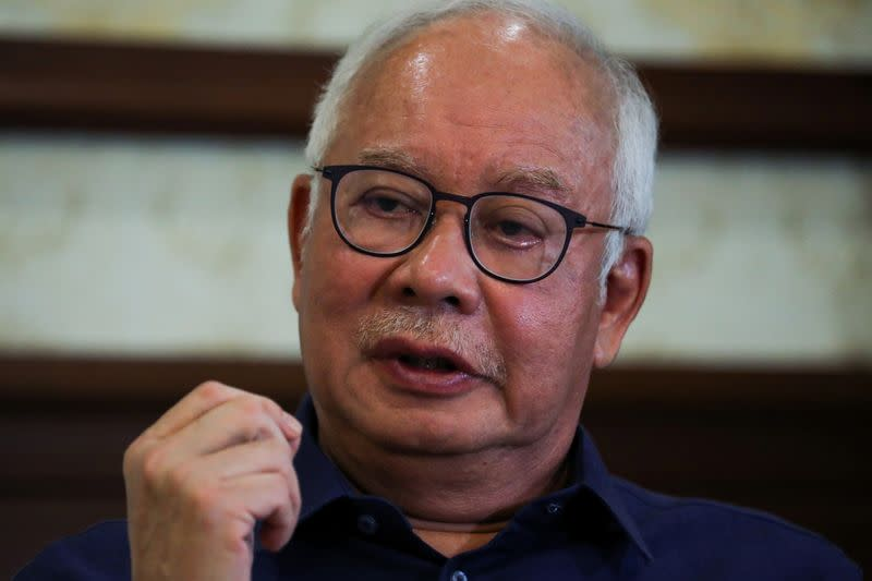Malaysia's former Prime Minister Najib Razak speaks during an interview with Reuters in Kuala Lumpur