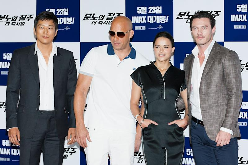 SEOUL, SOUTH KOREA - MAY 13: Actors Sung Kang, Vin Diesel, Michelle Rodriguez and Luke Evans attend the 'Fast & Furious 6' press conference on May 13, 2013 in Seoul, South Korea. (Photo by Han Myung-Gu/WireImage)