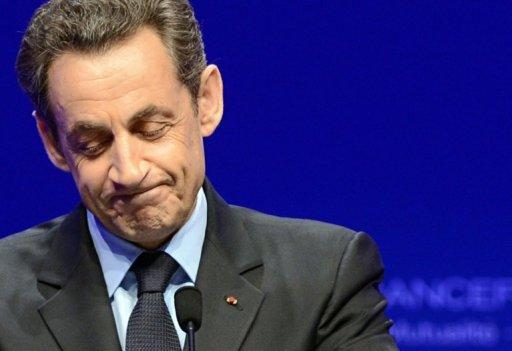 Nicolas Sarkozy delivers a speech following the announcement of the estimated results