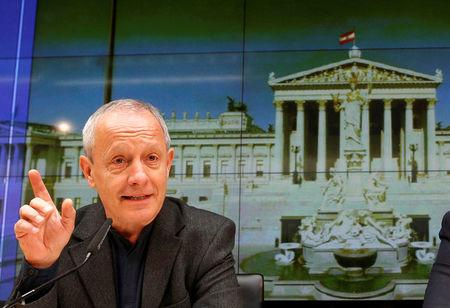 FILE PHOTO: Greens lawmaker Pilz addresses a news conference in Vienna