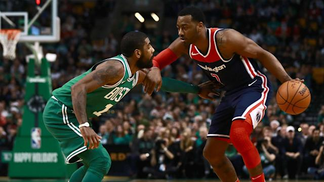 "<a class=""link rapid-noclick-resp"" href=""/nba/players/4716/"" data-ylk=""slk:John Wall"">John Wall</a> recovered from a missed dunk to help the Wizards rally past the Celtics on Christmas. (Getty)"