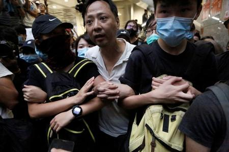 Anti-extradition bill protesters occupy the Revenue Rower in Hong Kong