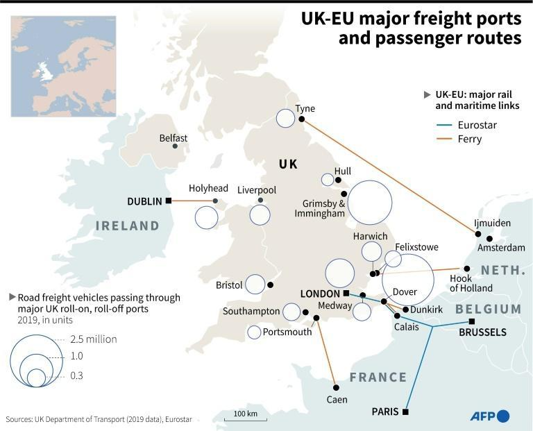 UK-EU major freight ports and passenger routes