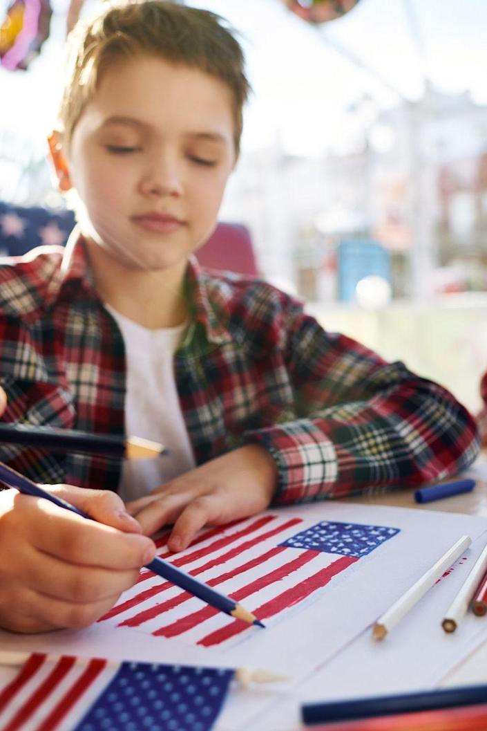 """<p>Help your kids get in touch with their creative side by setting up a patriotic craft session. Check out these <a href=""""https://www.womansday.com/home/crafts-projects/g2446/4th-of-july-crafts/"""" rel=""""nofollow noopener"""" target=""""_blank"""" data-ylk=""""slk:red, white, and blue DIYs"""" class=""""link rapid-noclick-resp"""">red, white, and blue DIYs</a> to get inspired.</p>"""