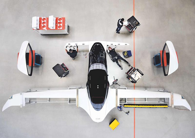 A handout picture from Munich flying taxi startup Lilium shows its five-seater prototype in Munich, Germany, October 10, 2019. Lilium says they achieved speeds of more than 100 km/h in test flights, as it announces investments to build hundreds of the aircraft with a view to commercial launch in 2025. Picture taken October 10, 2019. Lilium/Handout via REUTERS THIS IMAGE HAS BEEN SUPPLIED BY A THIRD PARTY.