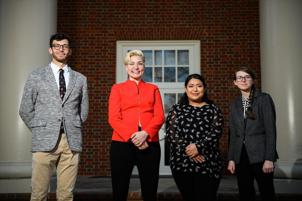 Brittany Arsiniega of The Justicia Project, middle left, poses for a portrait with her interns Allyson Stevens, Ingrid Ramos and Ryan Adams at Furman University Wednesday, Feb. 18, 2021.