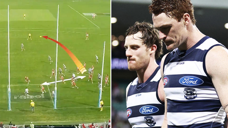 New vision, pictured here showing the Geelong Cats were wrongly denied a shot at victory.