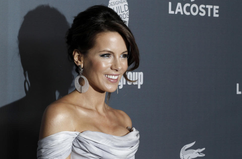 Actress Kate Beckinsale arrives at the 14th Annual Costume Designers Guild Awards at the The Beverly Hilton hotel in Beverly Hills, Calif., Tuesday, Feb. 21, 2012.  (AP Photo/Matt Sayles)