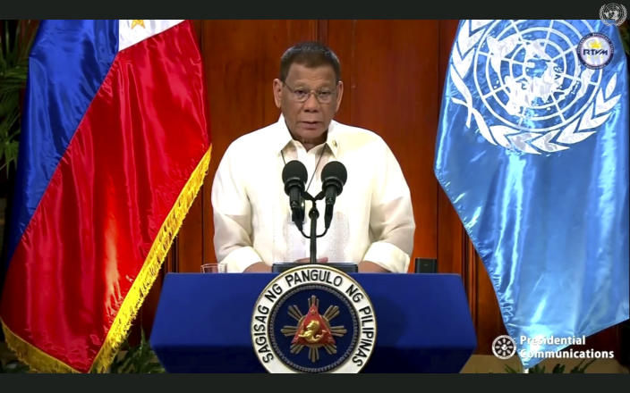 In this image made from UNTV video, Rodrigo Roa Duterte, president of the Philippines, speaks in a pre-recorded message which was played during the 75th session of the United Nations General Assembly, Tuesday, Sept. 22, 2020, at UN headquarters. The U.N.'s first virtual meeting of world leaders started Tuesday with pre-recorded speeches from some of the planet's biggest powers, kept at home by the coronavirus pandemic that will likely be a dominant theme at their video gathering this year. (UNTV via AP)
