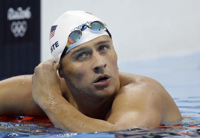 "U.S. swimming star <a class=""link rapid-noclick-resp"" href=""/olympics/rio-2016/a/1119887/"" data-ylk=""slk:Ryan Lochte"">Ryan Lochte</a> finds himself in hot water once again. (AP)"