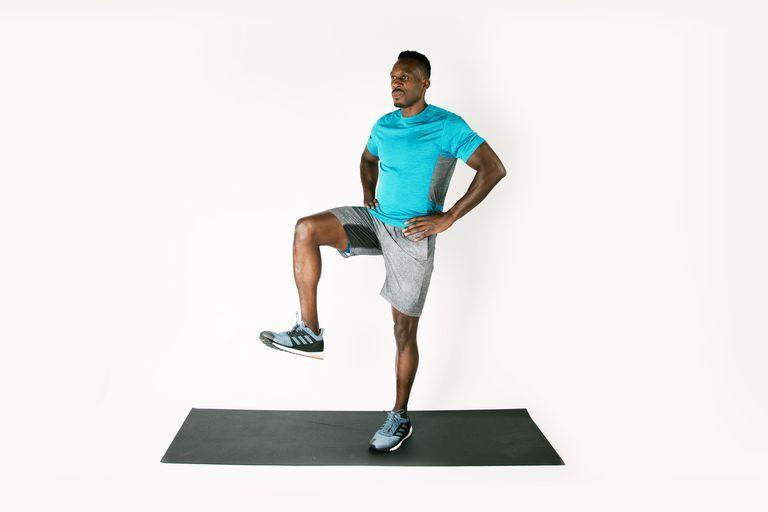 <p>Start standing with hands on hips. Shift weight to left leg and bring right knee up so hip, knee, and ankle form 90-degree angles. Hold this position for 30 to 60 seconds, then repeat on other leg.</p>