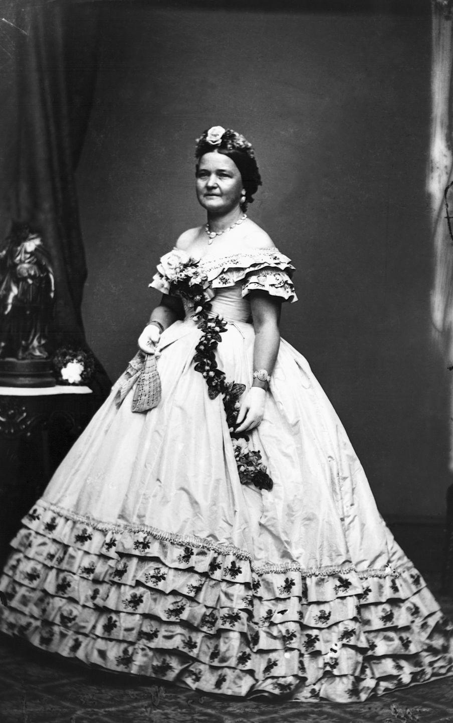 <p>Ruffles, large skirts, and extravagant details like flowers or embroidery were popular in the mid-19th century. If you've ever seen <em>Gone with the Wind</em><em>,</em> you know what we're talking about.  </p>