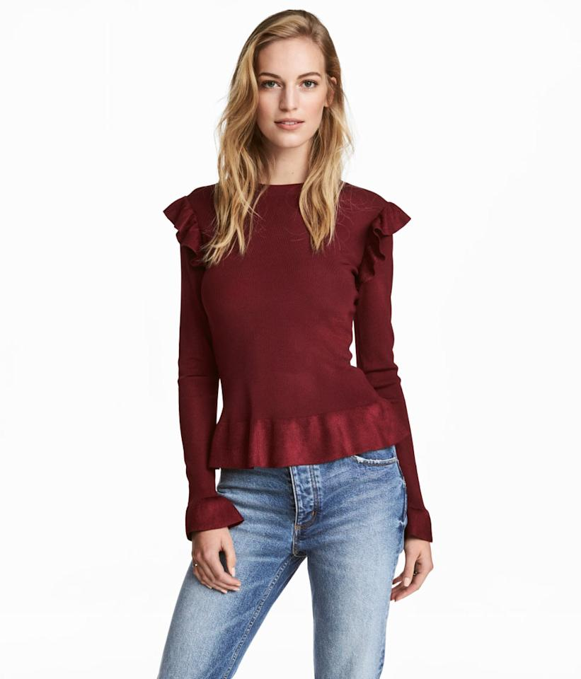 "<p>Sweater with Flounces, $24.99 (was $34.99); at <a rel=""nofollow"" href=""http://www.hm.com/us/product/63471?article=63471-A&cm_vc=SEARCH"" rel="""">H&M</a></p> <p></p>"