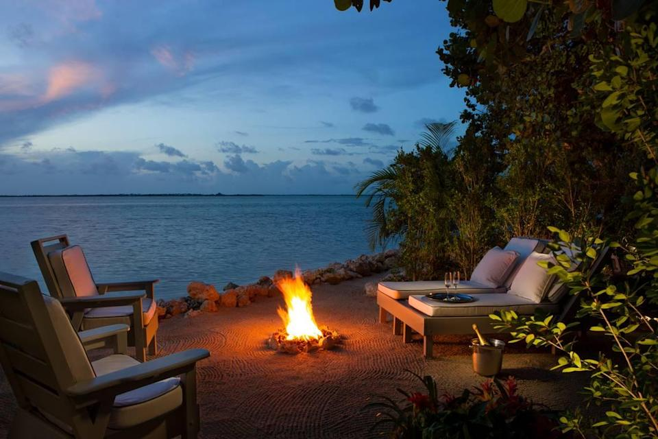 A firepit at one of the suites at Little Palm Island Resort & Spa.
